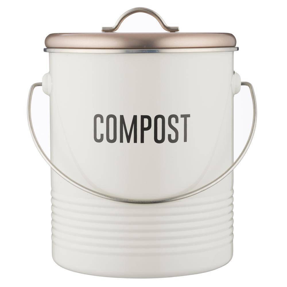 Typhoon Vintage Copper Compost Caddy - Silver Mushroom