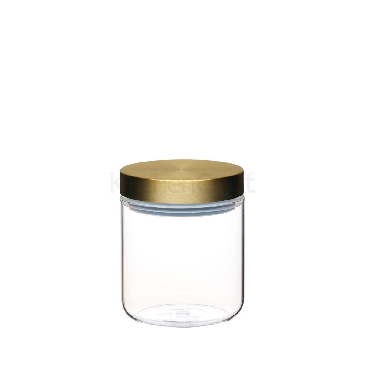 master class airtight small glass food storage jar with brass lid silver mushroom. Black Bedroom Furniture Sets. Home Design Ideas