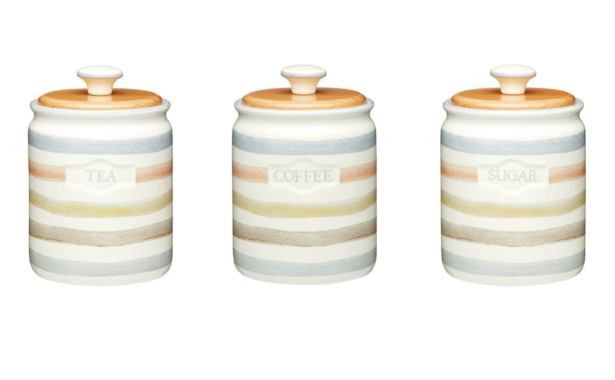classic collection striped ceramic tea coffee sugar set. Black Bedroom Furniture Sets. Home Design Ideas