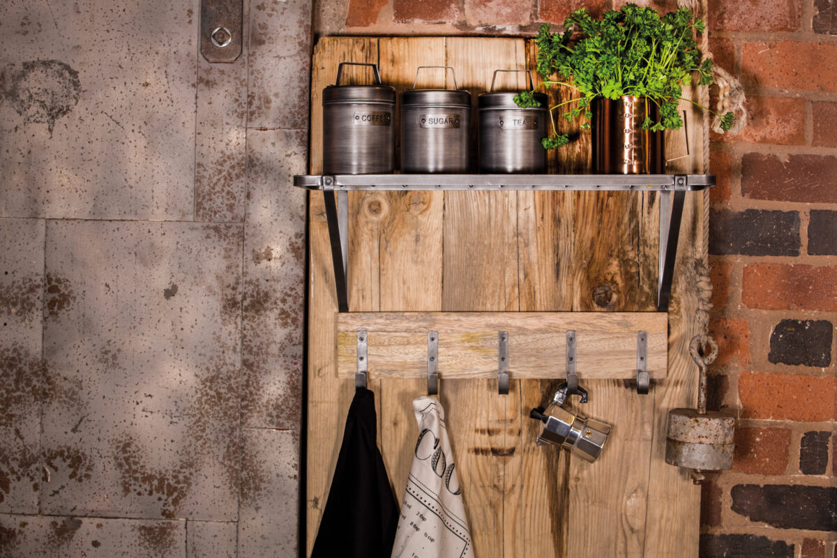 Industrial Kitchen Wall Mounted Shelf With Hooks Silver