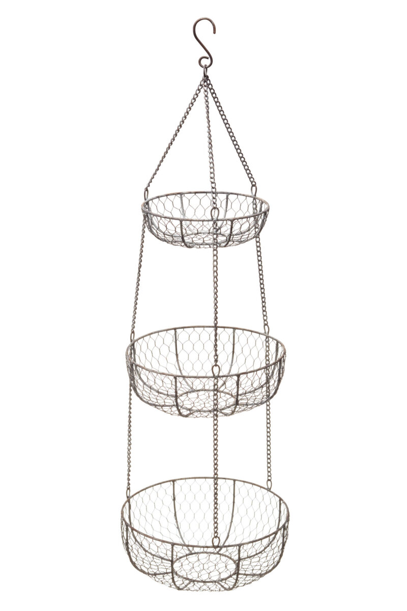 Click to enlarge  sc 1 st  Silver Mushroom & Classic Collection Wire Three Tier Hanging Storage Baskets - Silver ...
