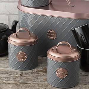 Typhoon Living Copper Lid Tea Coffee Sugar Storage Set Silver Mushroom