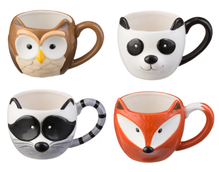 price and kensington woodland animal mug set silver mushroom. Black Bedroom Furniture Sets. Home Design Ideas