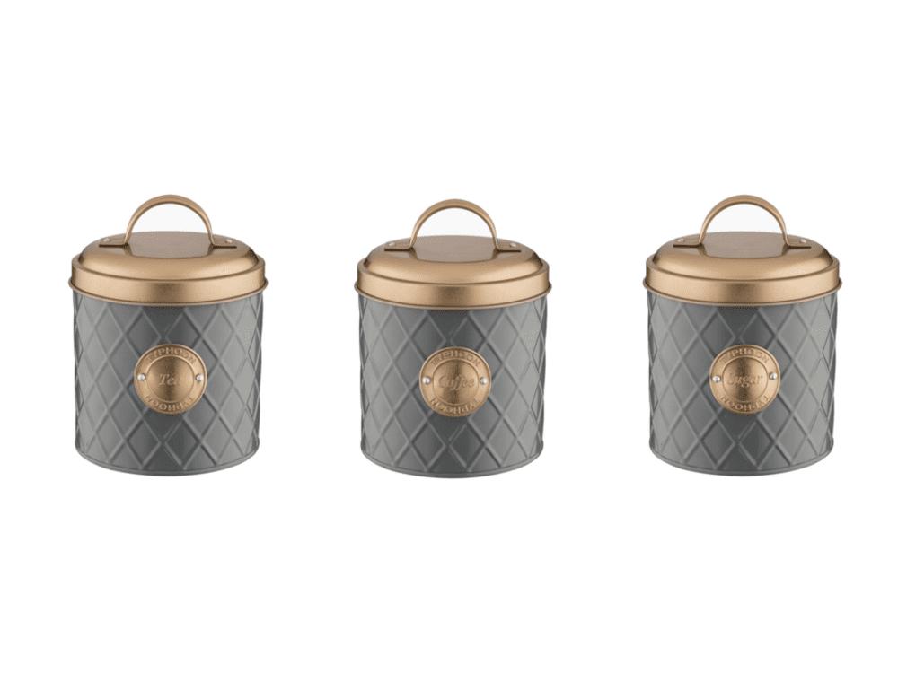 Typhoon Living Copper Lid Tea Coffee Sugar Storage Set