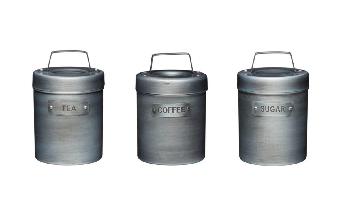 Industrial Kitchen Vintage Style Tea Coffee Sugar Set Silver Mushroom