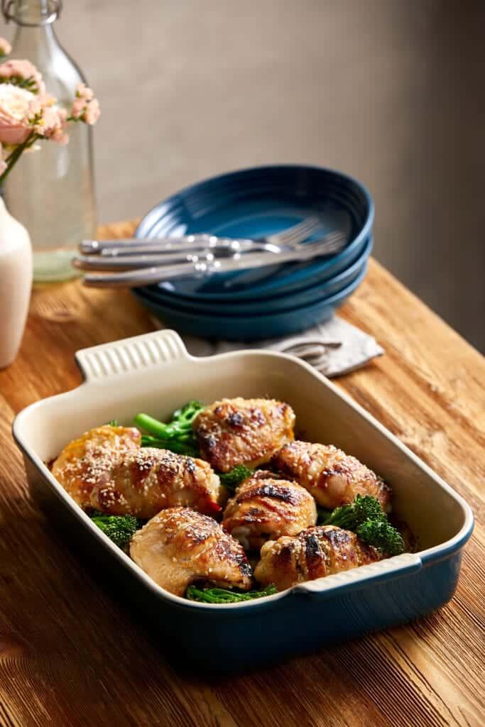 Miso roasted chicken recipe in Le Creuset Stoneware dish