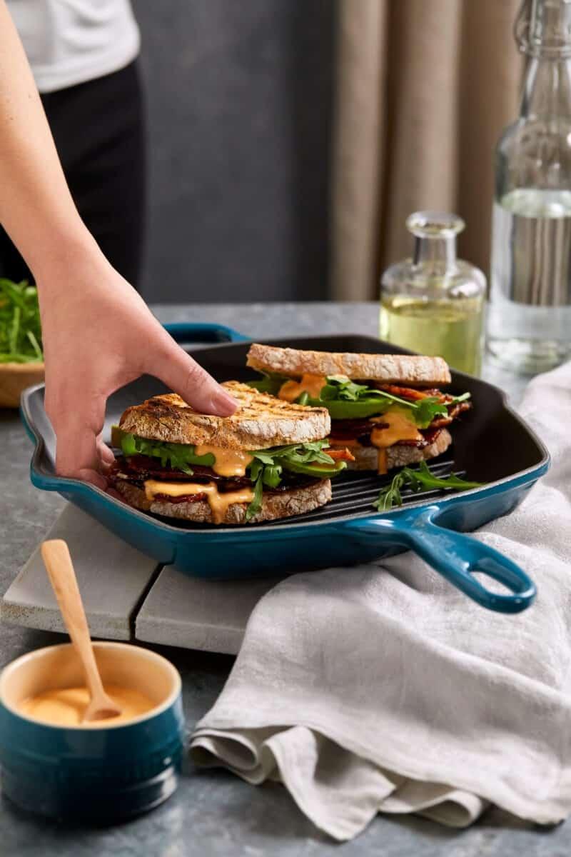 Sandwich made in Le Creuset Signature Cast Iron Square Grillit