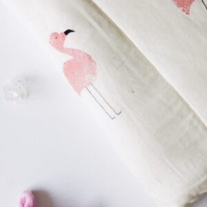 Silver Mushroom Sanctuary White & Pink Flamingo Print Bedspread