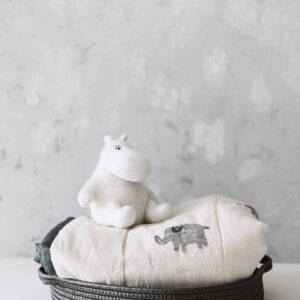 Silver Mushroom Sanctuary White & Grey Elephant Print Bedspread
