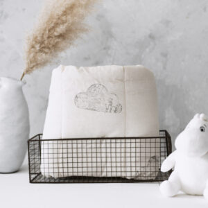 Silver Mushroom Sanctuary White & Grey Cloud Print Bedspread