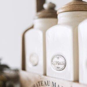 Rustic Tea, Coffee & Sugar Set With Carrier