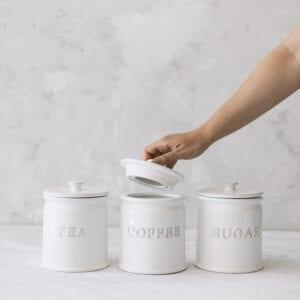 Silver Mushroom Sanctuary Tea, Coffee & Sugar Jars