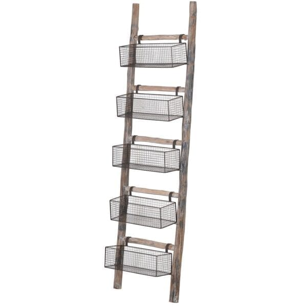 Rustic Wooden Ladder With Wire Baskets