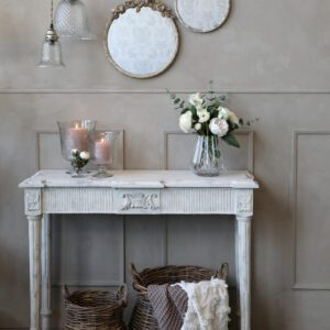 French Vintage Distressed White Console Table