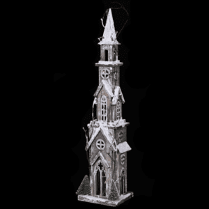 Silver Mushroom Label Light Up Snow Covered Tall Church