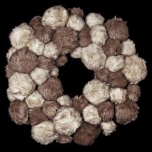 Silver Mushroom Label Faux Fur Pom Pom Wreath