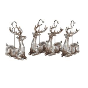 Silver Mushroom Label Set of 4 Deer Name Place Holders