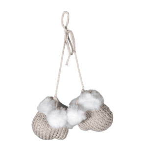 Silver Mushroom Label Mini Knitted Mittens Hanging Decoration
