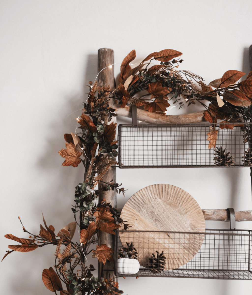 Silver Mushroom Label Rustic Wooden Ladder With Wire Baskets