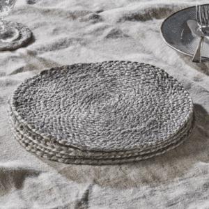 Soft Grey Braided Hemp Tablemats